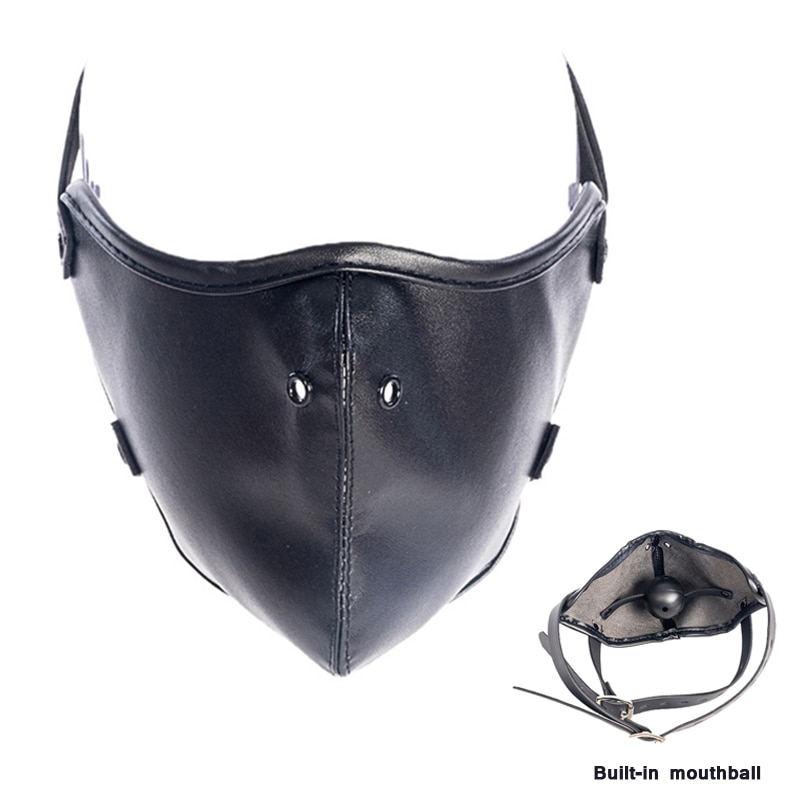 Bondage Mask With Mouth Gag Adjustable Sex Toys For Women Slave Sex Games Flirt Leather Mouth Gag Bdsm Black Ball Mask Sex Tool.