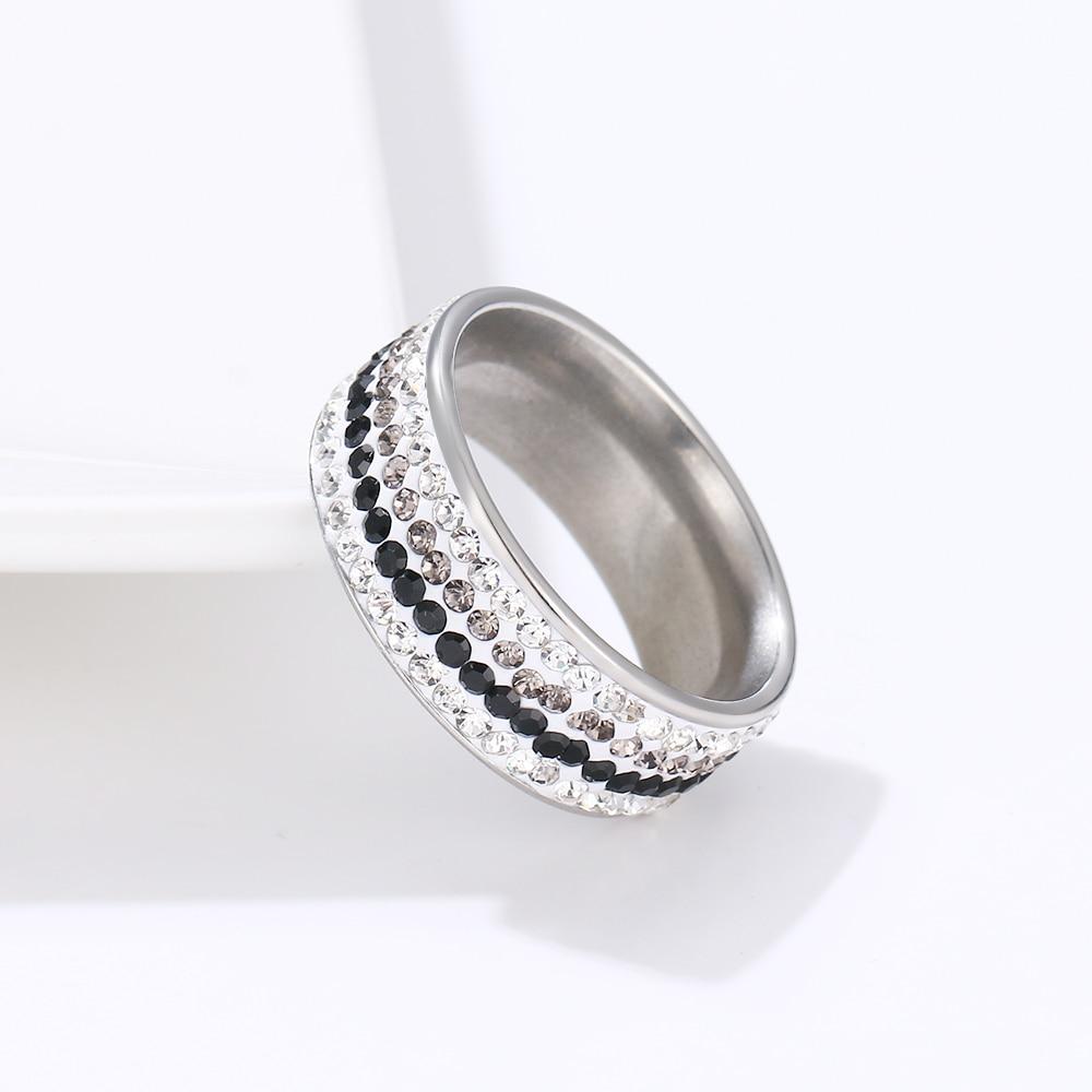 DOTIFI, anillos para mujer, cristal transparente, boda, mujer, moda 316L, acero inoxidable, joyería para mujer adolescente, anillo R176