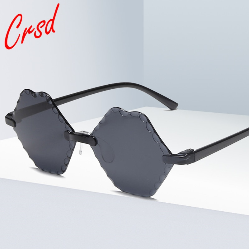 CRSD 2020 Candy Color Rimless Sunglasses Women  Frameless Multilateral Ladies Outdoor Retro Wild Lad