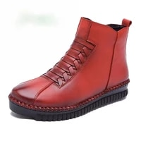 handmade autumnwinter boots women genuine leather shoes woman ankle boots solid zip casual snow botas mujer female shoes