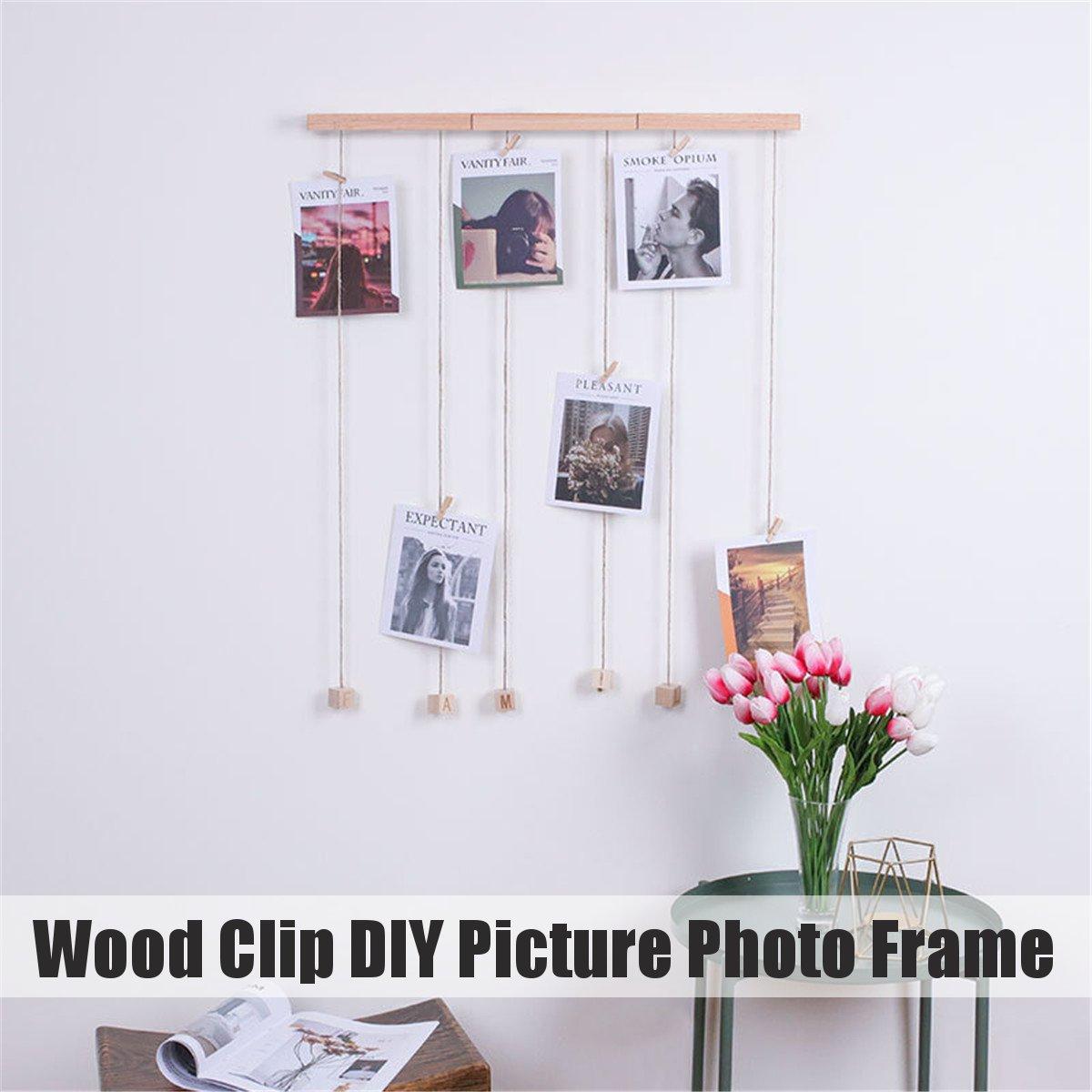Holz Clip Bilder Fotos Rahmen Seil Kit Hängen Hause Wand Bild Foto Display Dekoration Organizer DIY Foto Collage