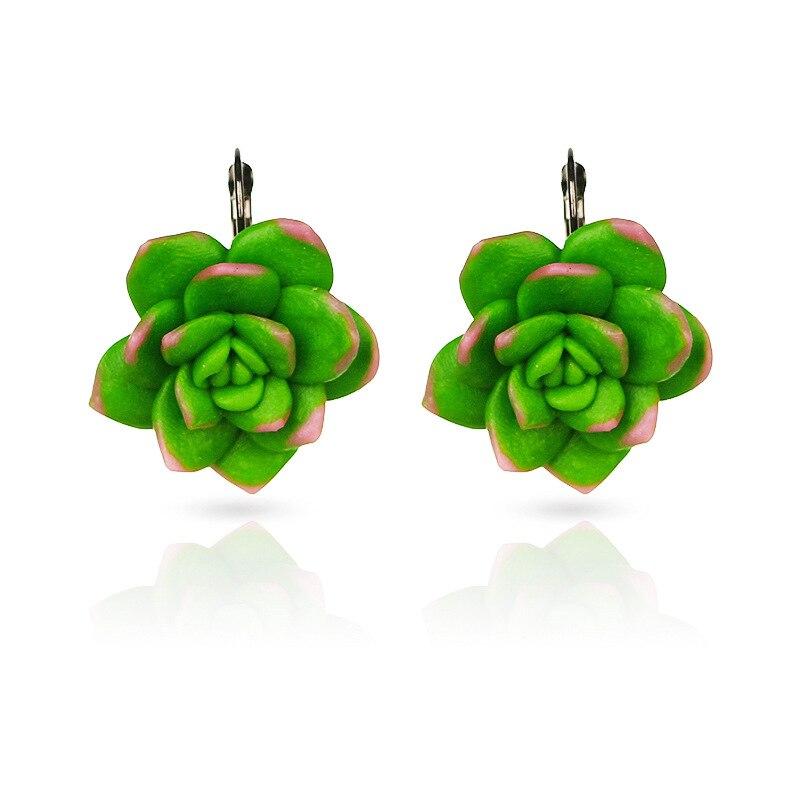 Pendientes con diseño de plantas carnosas verdes Bijoux creativos geométricos de cerámica suave venta directa desde fábrica