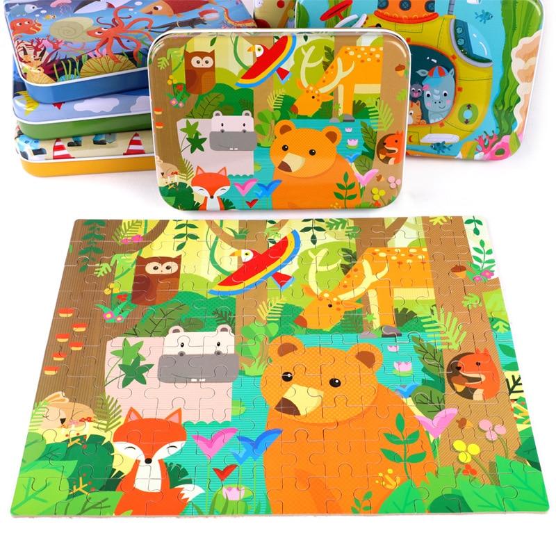Новый 120 шт. деревянные головоломки игрушки для детей мультфильм животных деревянные головоломки для детей раннего образования обучающие и...