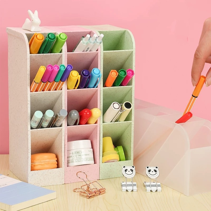 PhD Kawaii Large Capacity Desk Pen Holder Pencil Makeup Storage Box Desktop Organizer Stand Case School Office Stationery недорого
