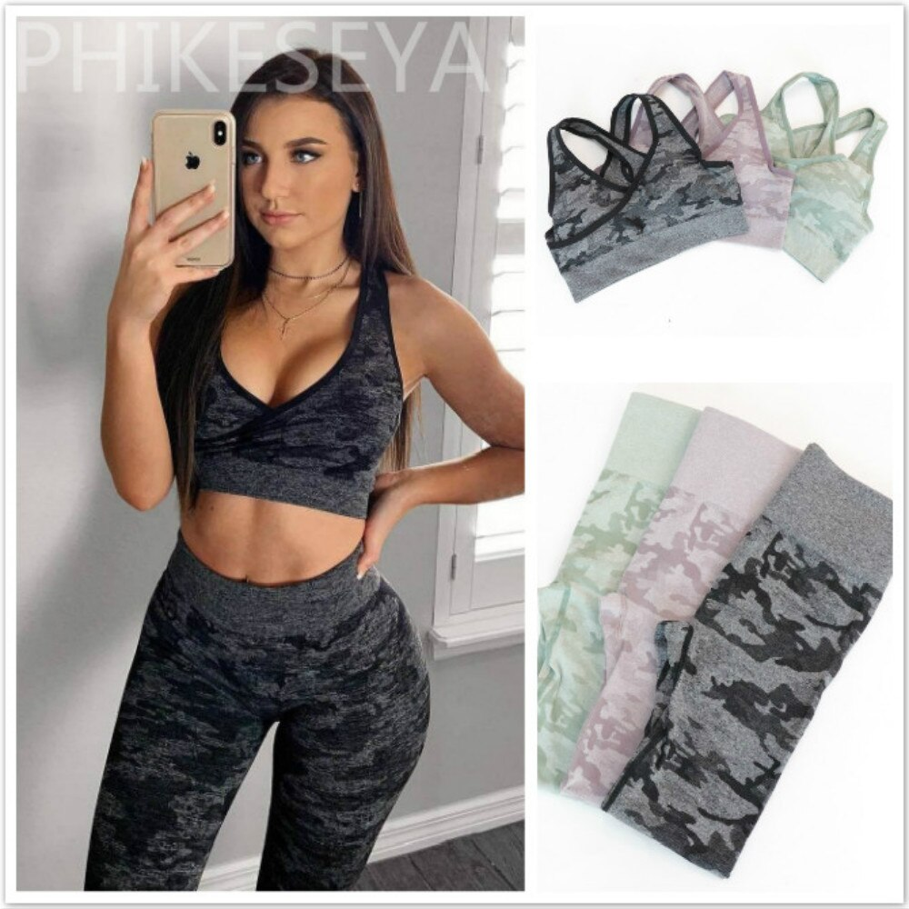 Women Camouflage Camo Yoga Set Sport Wear Seamless Gym Fitness Clothing Booty Yoga Leggings + Sport Bra GYM Sport Suit Femme