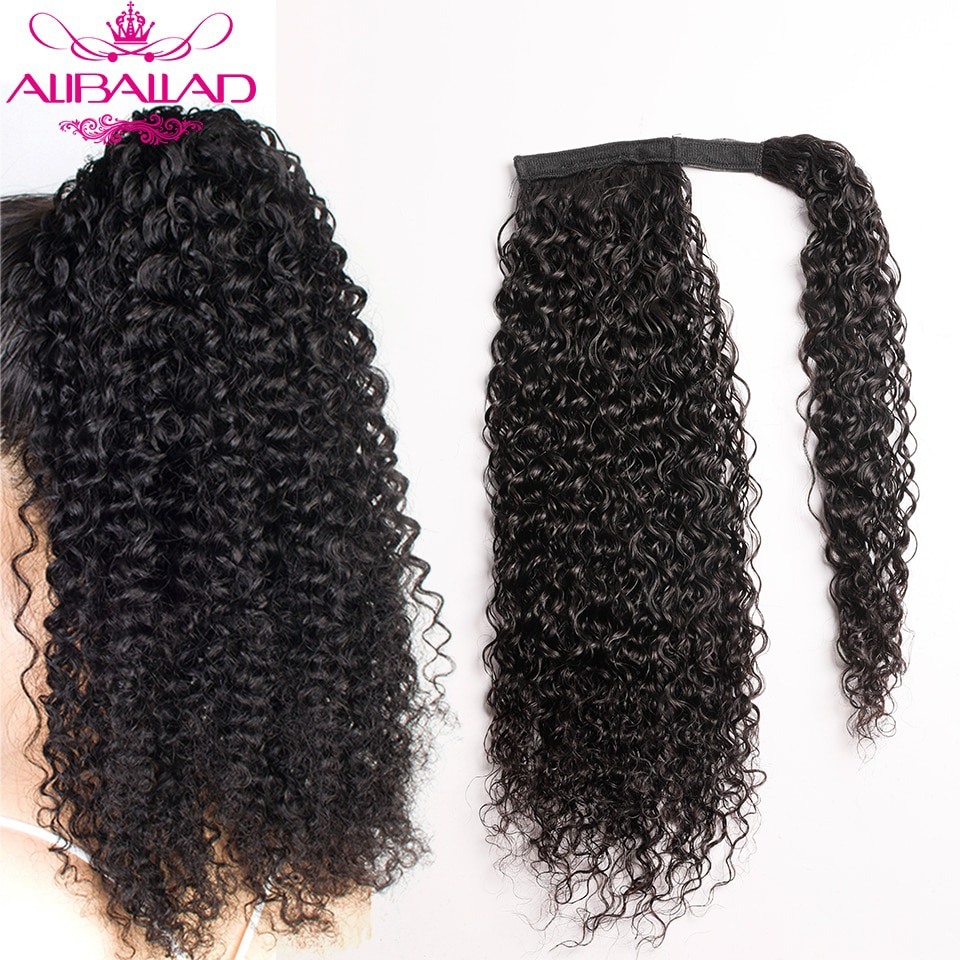 kinky curly wrap em torno de rabo de cavalo cabelo humano brasileiro encaracolado