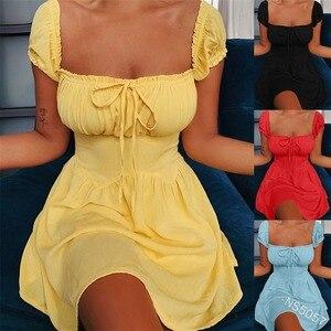 Summer Dress Women Plus Size Solid High Waist Low Cut A-line Plus Size Casual Mini Dress  Lugentolo