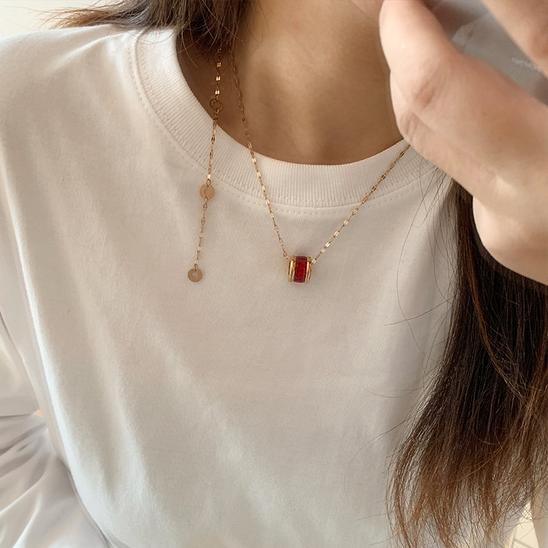 Internet Celebrity Simple Graceful Small Waist Necklace for Women Niche Design Clavicle Chain Neck C