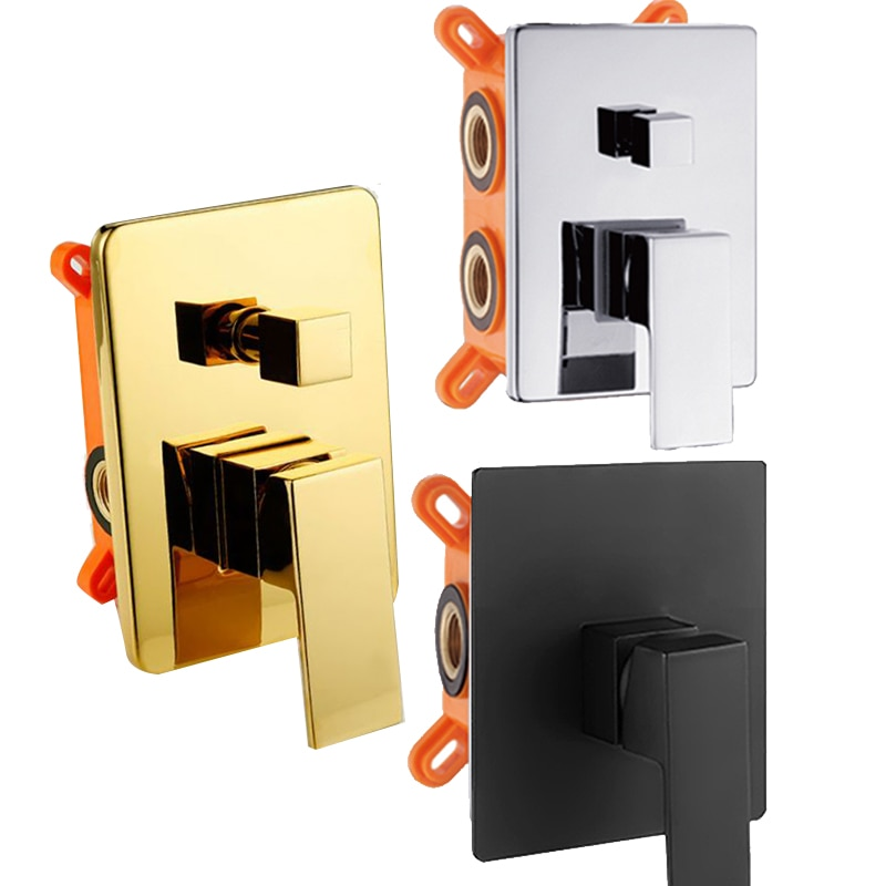 AliExpress - BAKALA Black Golden Brass Shower Faucet Mixing Valve 1-2-3 Ways Concealed Embedded box Brass Concealed Valve Wall Mount