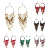 fashion jewelry retro national style earrings long style rice bead tassel earrings for female