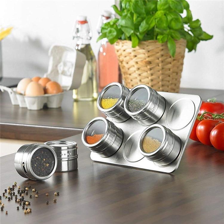 Neue 6/9 Pcs Magnetische Gewürz Gläser Set Edelstahl Salz und Pfeffer Spray Shakers Spice Rack Gewürz Box Würze Container