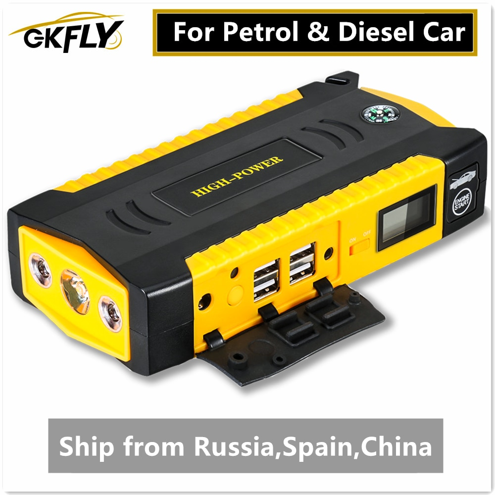 GKFLY High Capacity Car Jump Starter 600A Starting Device Portable Power Bank 12V Starter Cables Aut