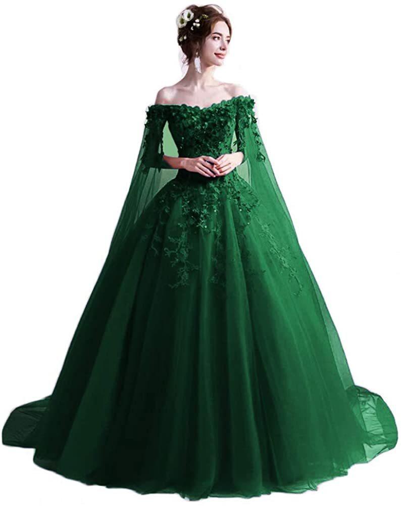 Women's Long Ball Gowns Prom Green Emerald Quinceanera Dresses Slit Sleeve Robe Vestido De Festa Soiree Formal Evening Dress