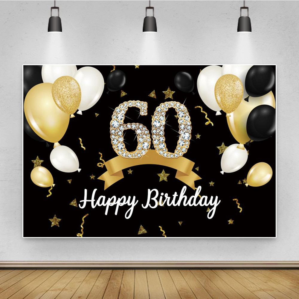 Laeacco 60th Birthday Party Balloons Banner For Family Photocall Photo Shoot Customized Poster Background Backdrops
