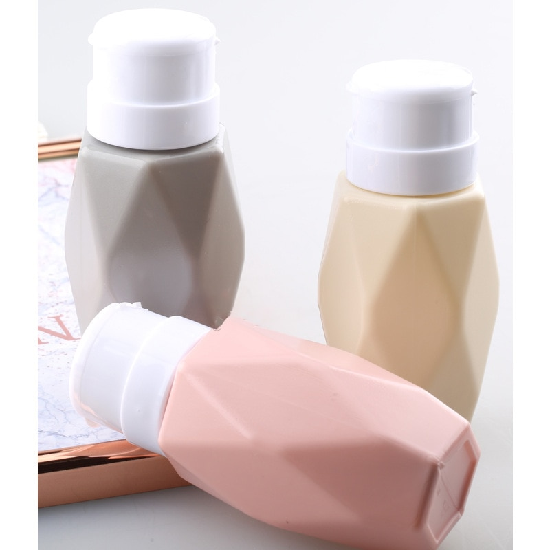 200ML Nail Art Rhombus Pump Dispenser Empty Bottle Acrylic Gel Polish Remover Cleaner Liquid Contain