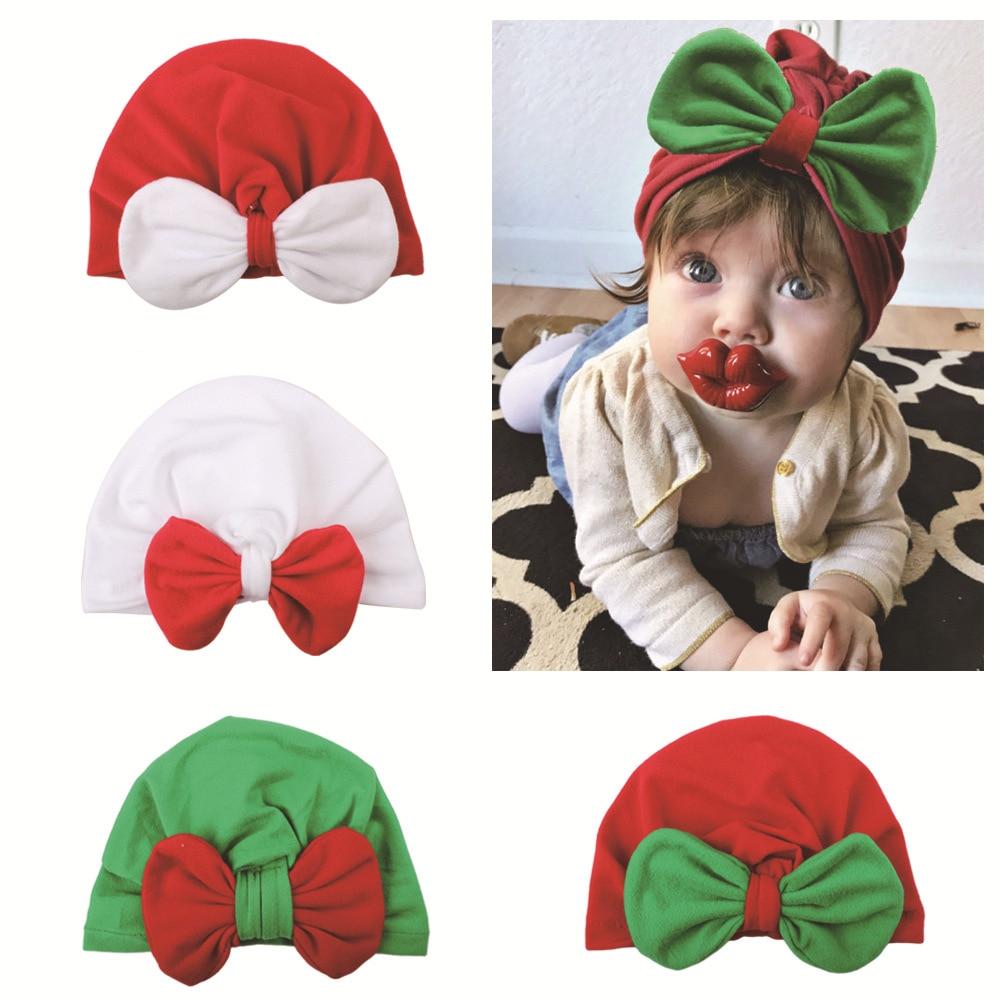 Gorro navideño para niñas recién nacidas, gorro de fiesta, tocado para niños, accesorios para el cabello, lazo cálido con lazo, turbante de la India