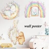 trendy nordic pink rainbow flower wall sticker for nursery kindergarten baby room decoration decor removable transparent murals