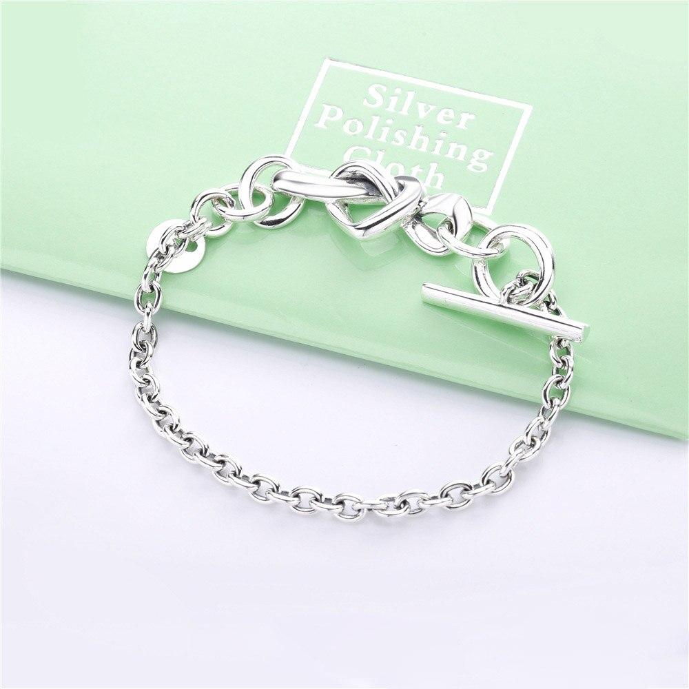 Nueva pulsera de plata de ley 925, pulsera de corazón anudado con corazón para mujer, brazalete con abalorio ajustable, joyería DIY DÍA DE LA Madre regalo
