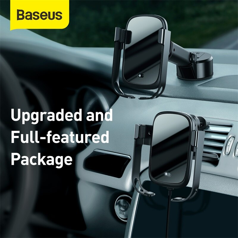 Soporte de Base doble Baseus, cargador inalámbrico para coche, soporte de teléfono eléctrico, cargador de coche USB Dual para iPhone, HUAWEI, Samsung