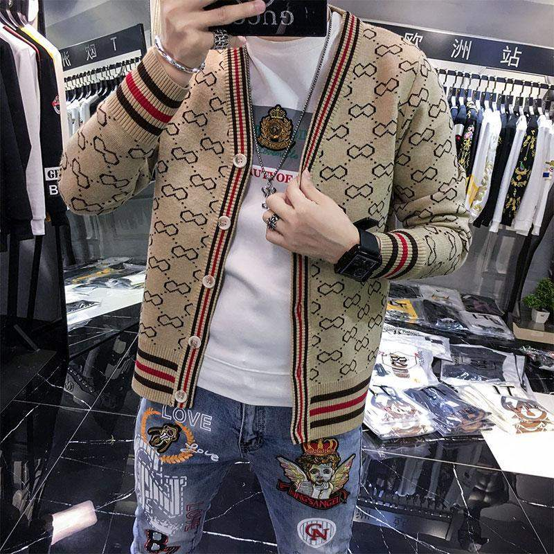 Мужской кардиган, трикотажная верхняя одежда, новинка 2021, корейский тренд, весна и осень, свитер, куртка, мужской тренд