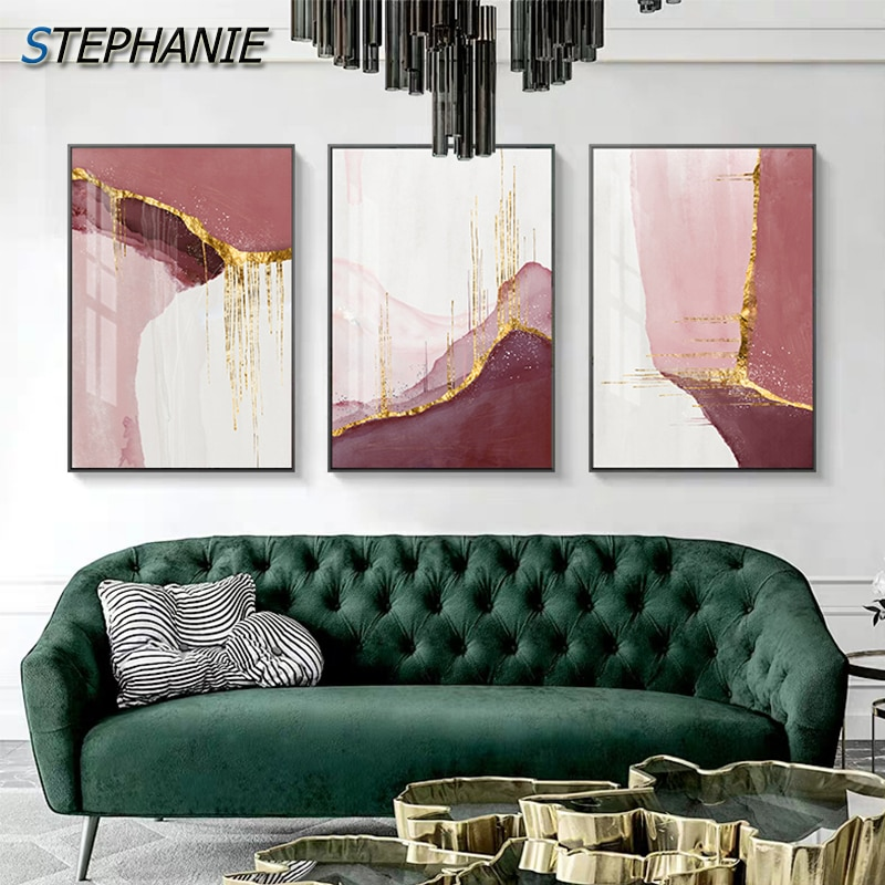 AliExpress - Abstract Golden Pink Canvas Painting Nordic Color Block Posters Print Modern Gold Wall Pictures for Living Room Bedroom Wall Art