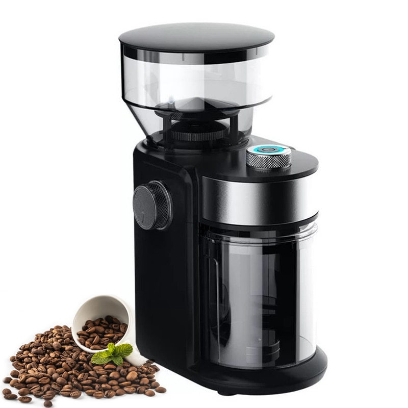 220 فولت مطحنة بن كهربائية لدغ المطاحن عجلة مسطحة آلة طحن البن مطحنة دقيق القهوة 18 مستويات سمك قابل للتعديل