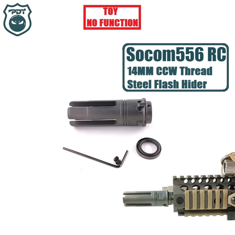 14MM CCW Gewinde Stahl Metall Surefire SF4P Socom 556 RC Flash Hider KEINE Funktion Maulkorb Gerät für Gel Ball blaster Airsoft AEG