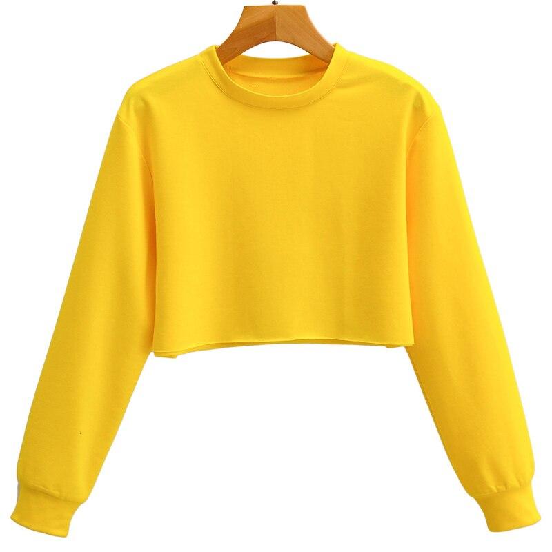 Укороченный Топ, свитшот, Женский Повседневный однотонный желтый свитшот с круглым вырезом и длинным рукавом, Короткие топы, мода 2021