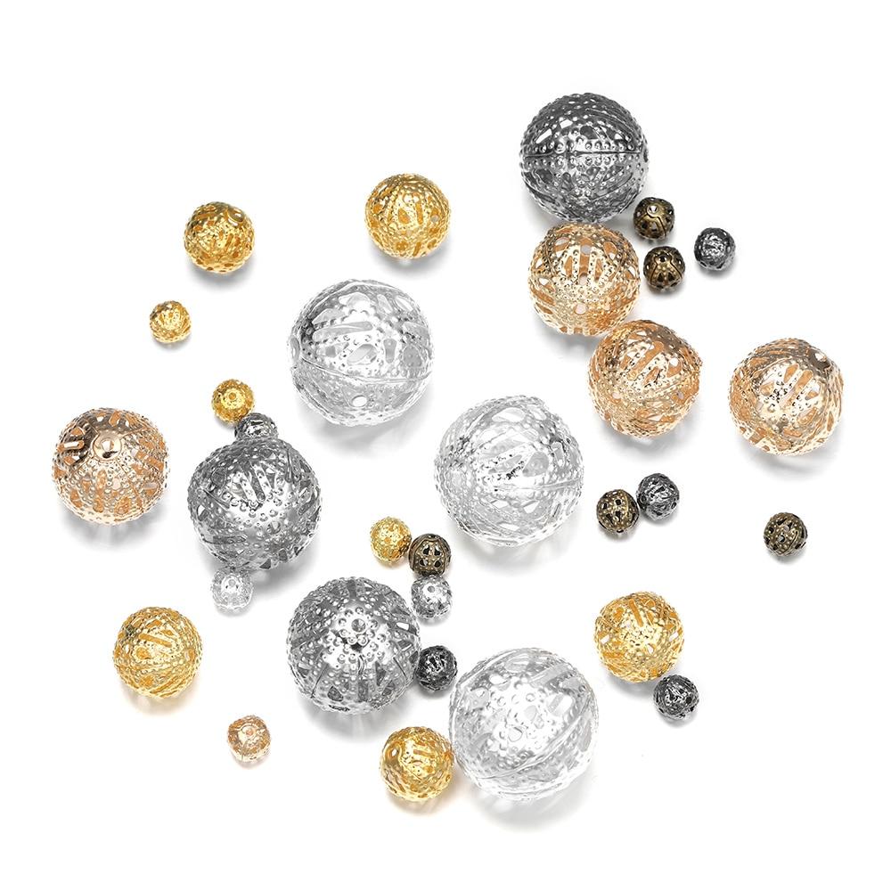 10-200 pçs/lote 4-20mm de Metal Ouro Rodada Contas Espaçador Semente Filigrana Oco Bead Para Colar Pulseira DIY Makings Jóias Suprimentos