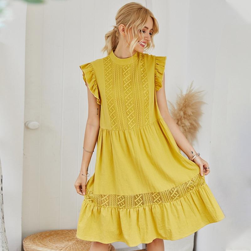 2020 Summer New Fashion Yellow Sweet Loose Pleated Voile Long Dress zaraing vadiming sheining zafuler Sukienka Boho women dress