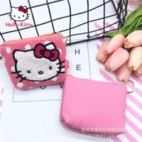 hello kitty plush wallet girls change storage bag cosmetic bag young women headphone cable storage bag