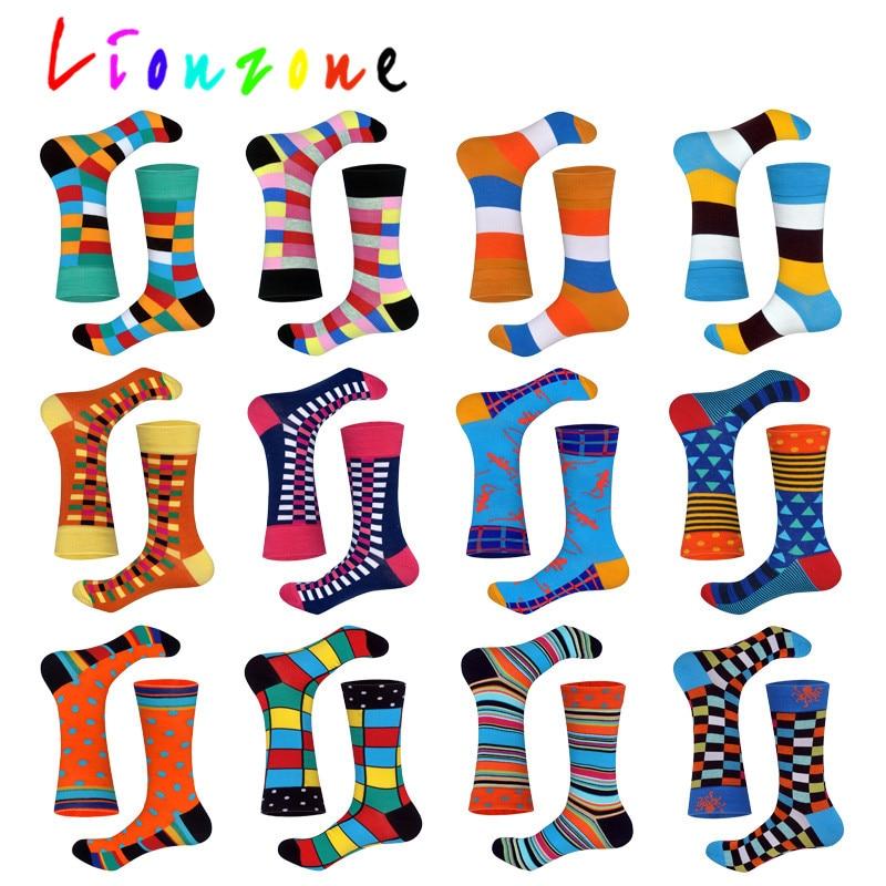 Lionzone 2018 novo chegou feliz meias unisex das mulheres dos homens listrado malha dot design colorido algodão meias lazer engraçado presente