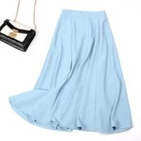elegant women solid color midi length skirt 2021 new fashion high waist ladies a line long skirts