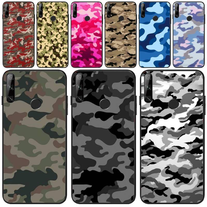 Maydaysmt camuflagem verde do exército diy pintado bling telefone caso para huawei y5 y6 y7 y9 prime pro ii 2019 2018