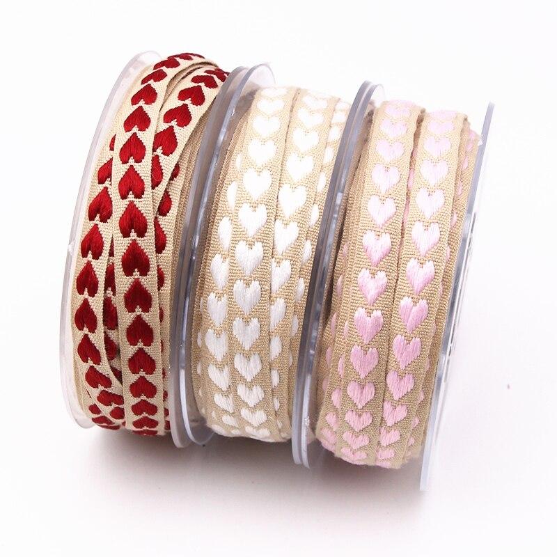 Cinta de corazón de melocotón tejida rosa, roja y blanca de 10mm hecha de poliéster para decoración de bodas, lazos para envolver regalos, accesorios artesanales DIY