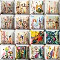 pillowcase bird printed cushion cover 4545 sofa cushions pillow cases polyester home decor pillow covers kd 0105