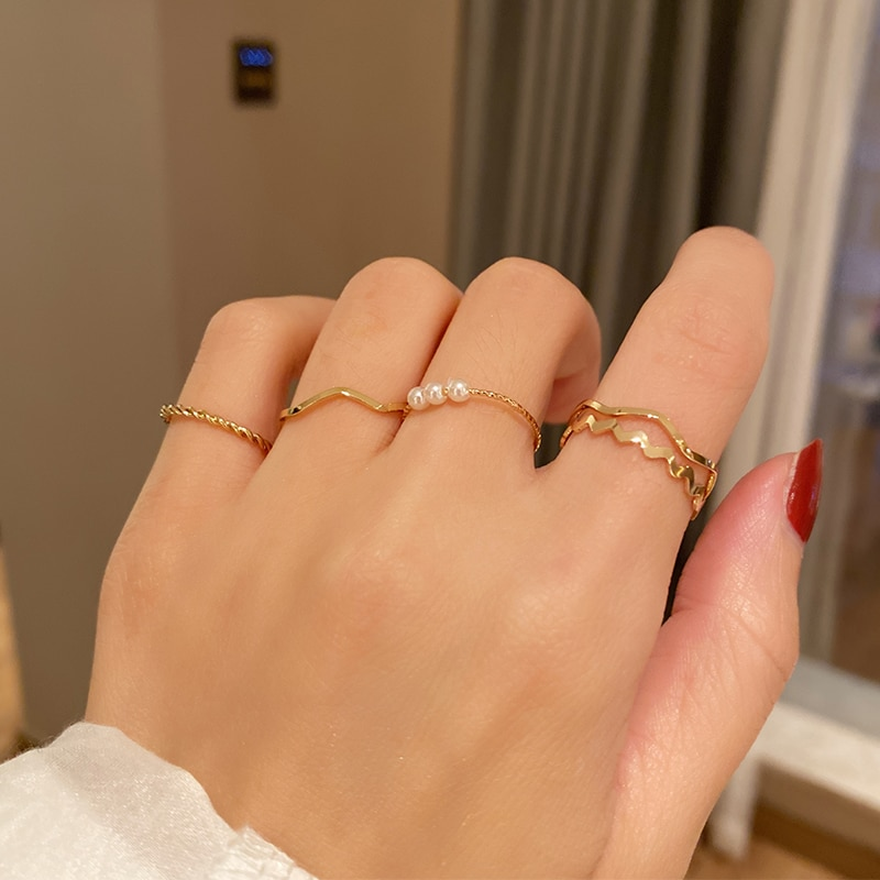 Simple Wave-Shaped Combination Set Rings Female Simple Bracelet Twin Ins Trendy Cold Wind Net Red In