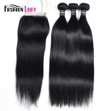 Jet Black Bone Straight Human Hair Bundles With Closure 4x4 Fashion Lady Brazilian Hair Weave 3 Bundles With Closure Non-remy