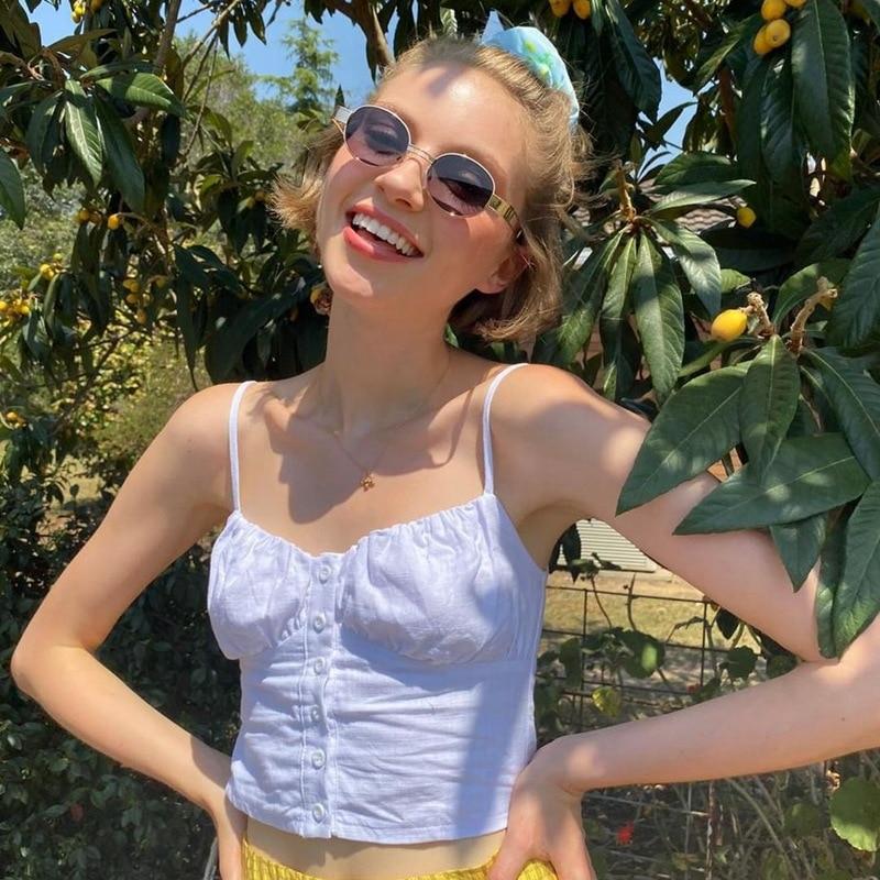 DaDa 2020 Summer Women Girls Sweet Buttons Spagettie Strap Tank Top Camisole Cute Top