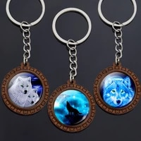 vintage wooden wolf key chains wolf howling at the moon glass cabochon keychain wolf pendant keyring