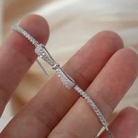 925 sterling silver bowknot bracelet for women shiny zircon tennis bracelet wedding party jewelry gifts