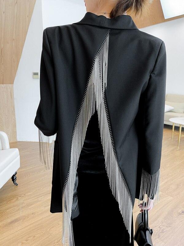 Vestido con flecos y cadena pesada para Mujer, chaqueta a la moda,...