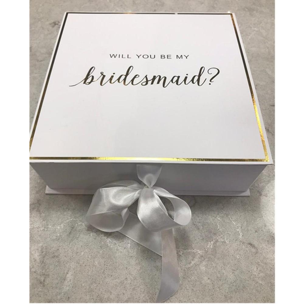 De Oro va a ser mi dama de honor cajas seda personalizada arco boda caja de regalo de despedida de soltera de dama de honor propuesta de embalaje