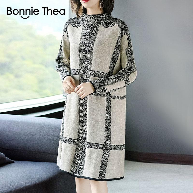 Bonnie Thea vrouwen Winter Coltrui party breien vrouwen jurk Herfst Elegant Trui jurk vestidos plus size bloem jurken