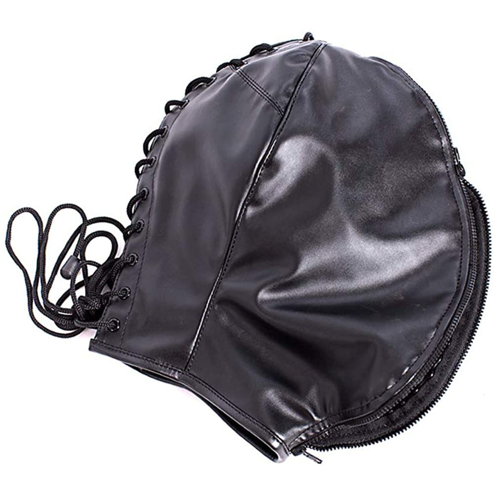Leather Hood Eye Mask, Black Mysterious Cosplay Lace Up Mask Full Face Headgear,Terror Masquerade Party Dance Performance