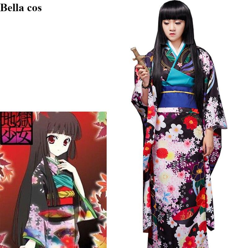 Infierno chica JIGOKU SHOUJO Enma Ai disfraz cosplay de mujer kimono vestido uniformes disfraces de Halloween Anime para mujeres ropa trajes