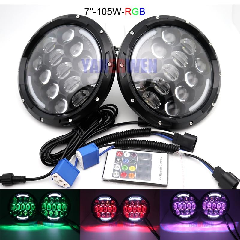 "Par de 7 ""LED lámpara H4 faro de luz RGB alto/bajo haz para Jeep Wrangler 4x4 Lada 7 pulgadas Ojo de Ángel Blanco."