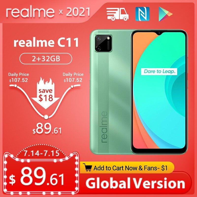 Перейти на Алиэкспресс и купить Realme C11 глобальная версия 4G мобильный телефон 2 Гб оперативной памяти, 32 Гб встроенной памяти, G35 5000 мА/ч, Батарея 6,5 дюймов полный экран Helio G35 13MP...