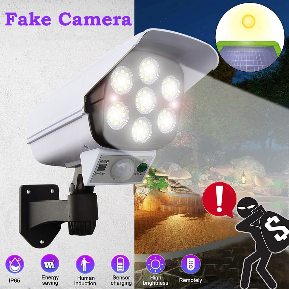 Камера видеонаблюдения, ночная цилиндрическая с питанием от солнечной батареи, Фальшивые Камеры светодиодов, уличный датчик движения, садо...
