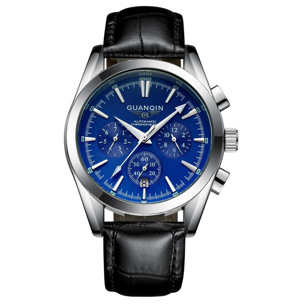 Automáticos de Luxo à Prova Guanqin Relógio Mecânico Movimento Masculino Relógios Dwaterproof Água Safira Gq01231